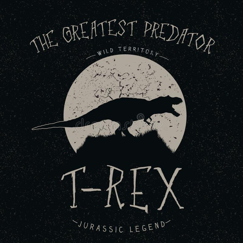 Rosnados de T-Rex na lua ilustração stock