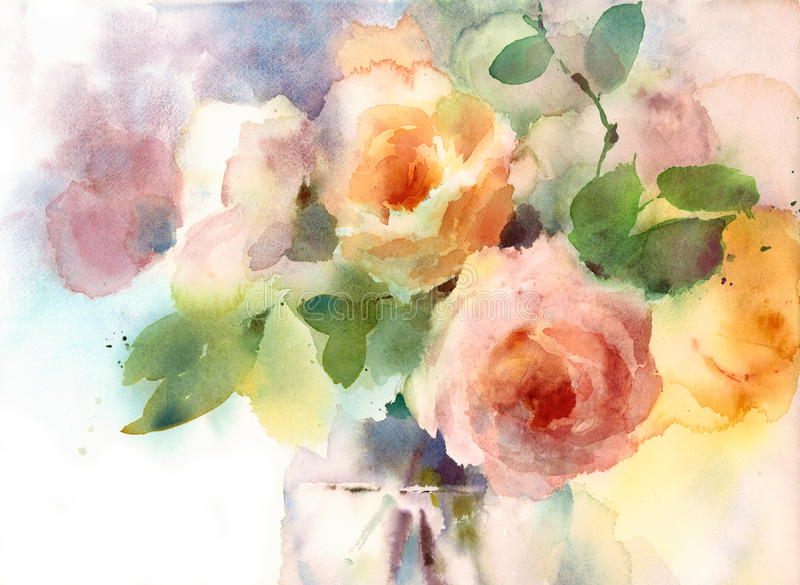 Rosor i den målade handen för illustration för vasvattenfärgblommor stock illustrationer