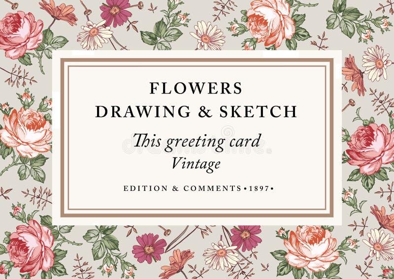 Rosor kamomill Rametikettkort också vektor för coreldrawillustration Härliga barockblommor Teckning gravyr blom- royaltyfria foton