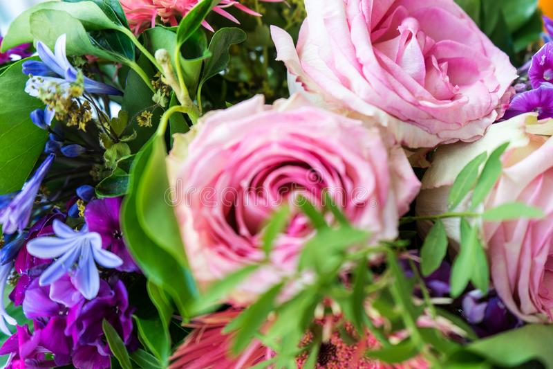 Rosor och blommor för övre sikt för blommabukettslut rosa royaltyfri fotografi