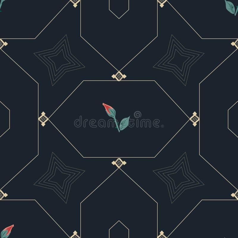 ROSOR OCH GULD- KEDJESEXHÖRNINGSMODELL royaltyfri illustrationer