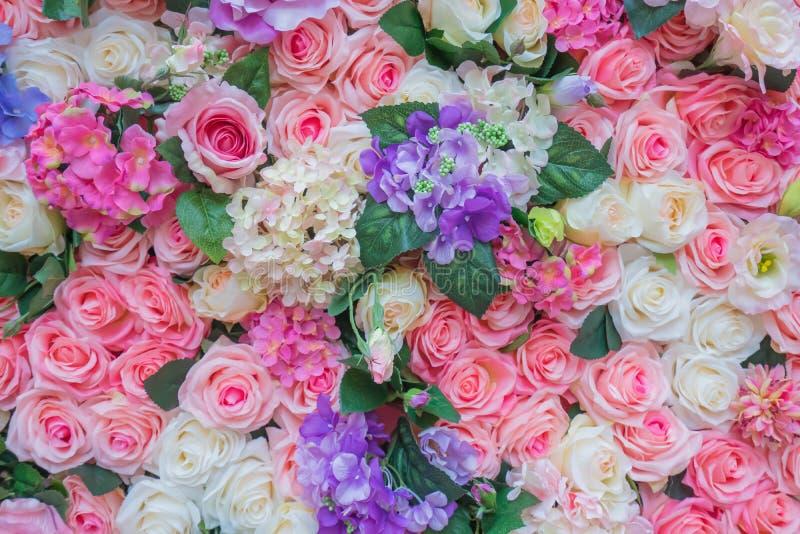 Rosor och konstgjord texturbakgrund f?r blomma f?r att gifta sig plats royaltyfria bilder