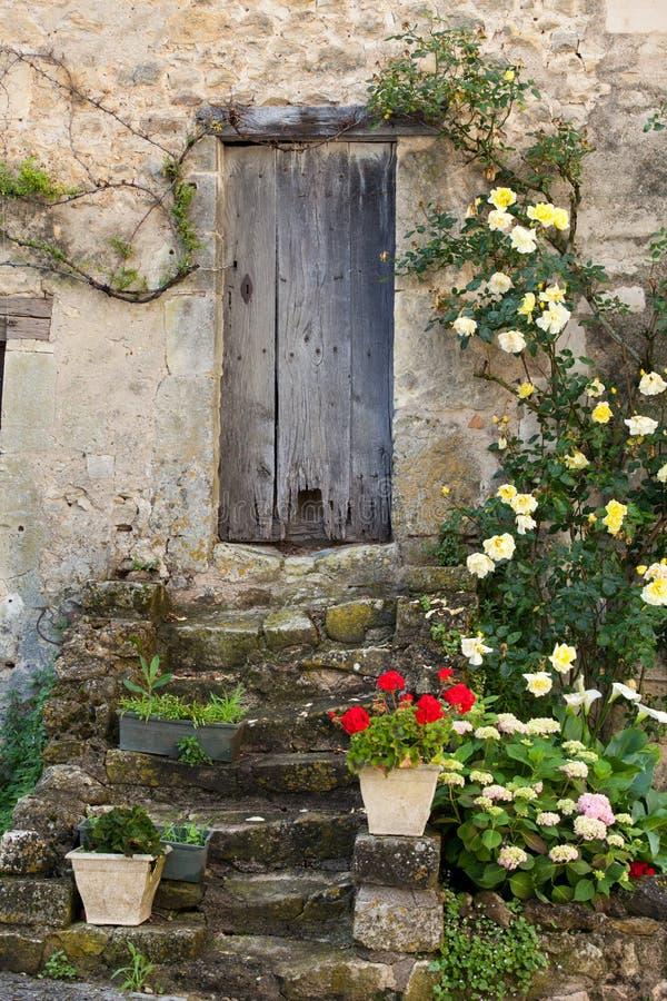 Rosor runt om dörr royaltyfri fotografi