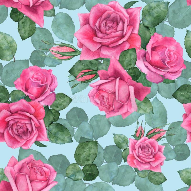 Rosor 7 seamless blom- modell stock illustrationer