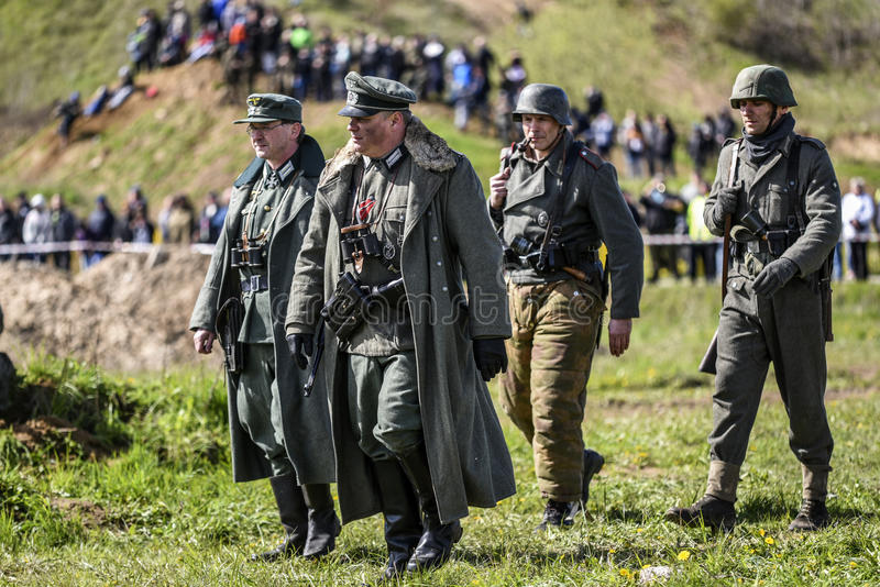 Rosowek, Poland, april 23, 2017: Historical reconstruction battle for Stettin in 1945, Red army against Wehrmacht in Rosowek.  stock photography