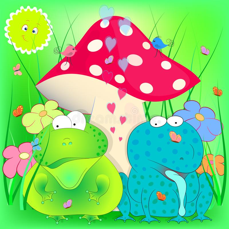Rospo e rana sotto il fungo Illustrazione di vettore del fumetto illustrazione vettoriale