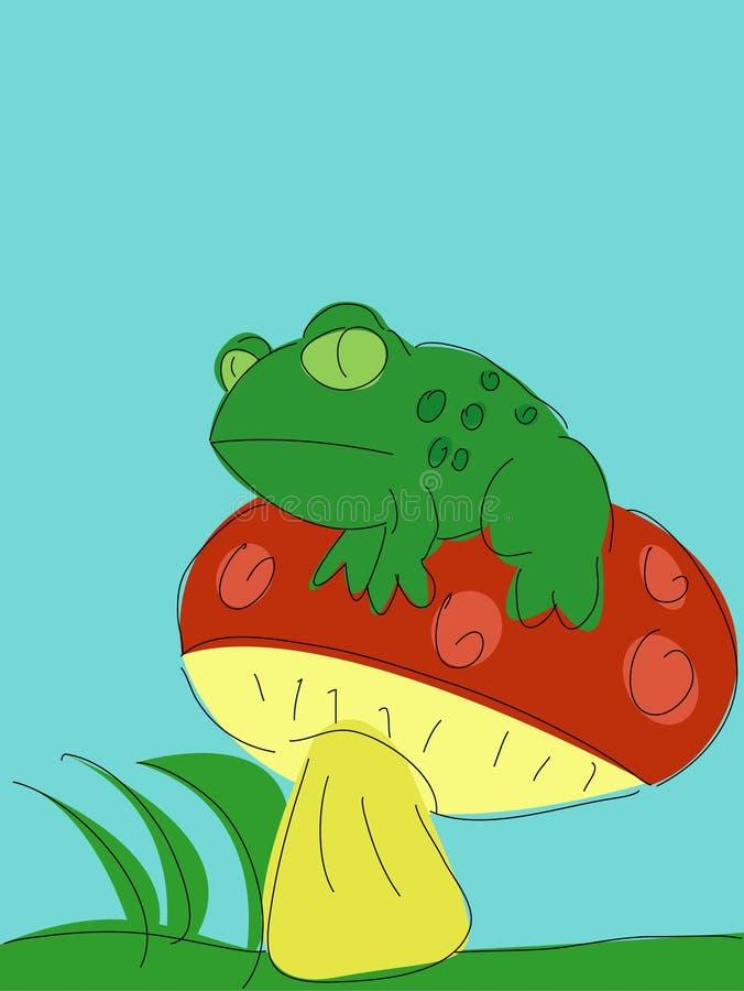 Rospo su un Toadstool illustrazione di stock