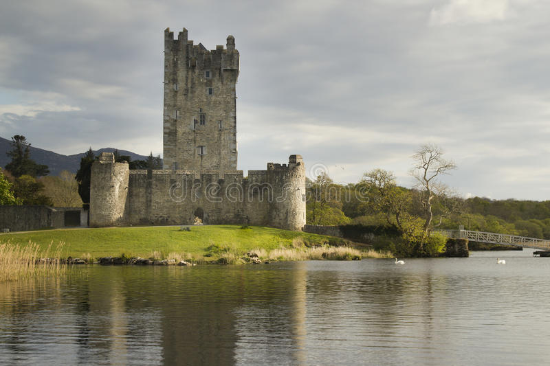 Ross Castle Ireland in Killarney, County Kerry. Ross castle and his reflection in Lough lake. Castle is located near city of Killarney in Ireland stock images