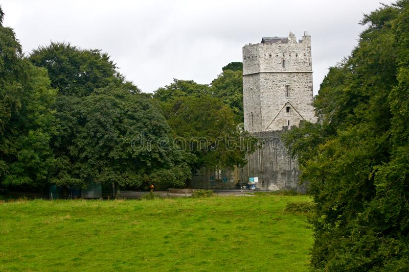 Stone tower at the Ross Castle Ruins in Killarney, Ireland. Ross Castle near Lower Lake,Killarney National Park, Ireland stock photos