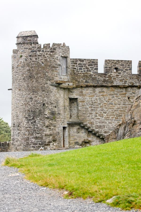 Stone tower at the Ross Castle Ruins in Killarney, Ireland. Ross Castle near Lower Lake,Killarney National Park, Ireland stock photo