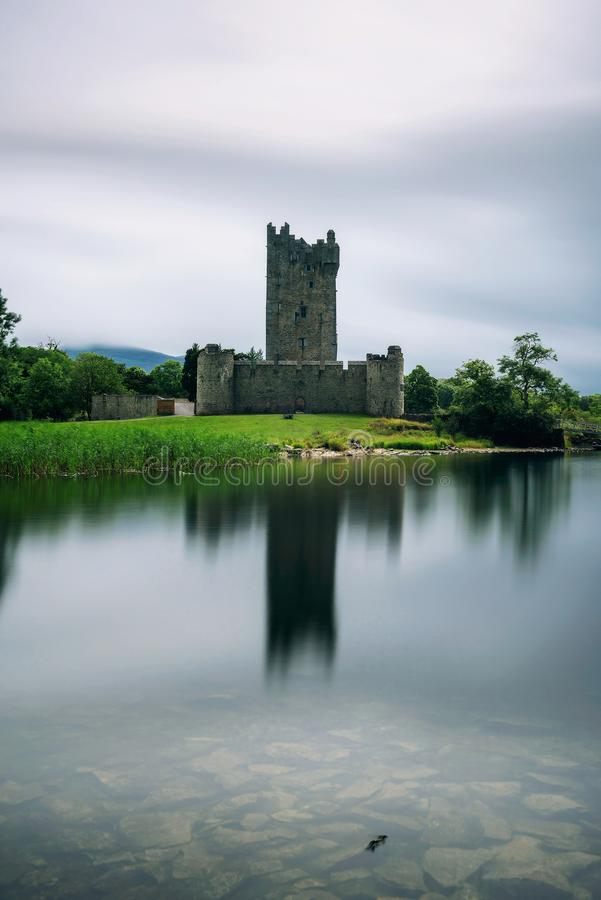 Ross Castle ruins in Ireland. Ross Castle ruins and the Lough Leane lake located in the Killarney National Park, Ireland. Long exposure stock images