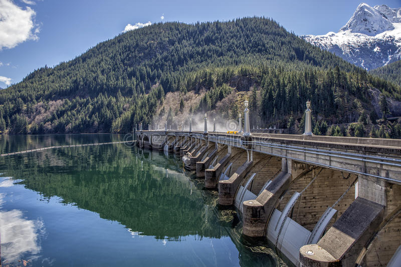 Ross Dam. View of the Ross Dam Wall stock image