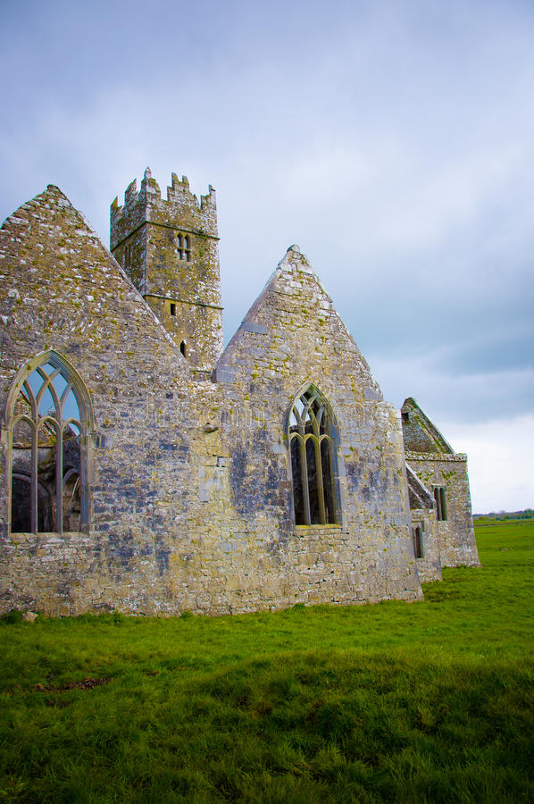 Ross Errilly Friary castle. In Ireland stock photo