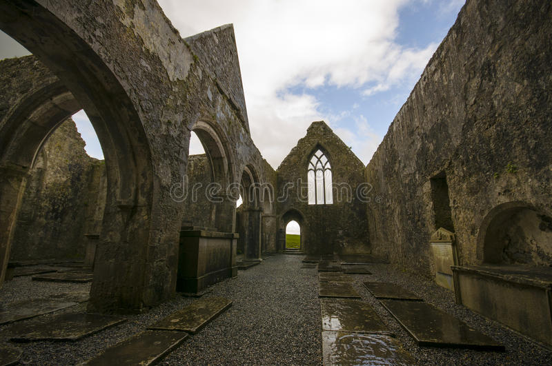 Ross Errilly Friary castle. In Ireland royalty free stock photography