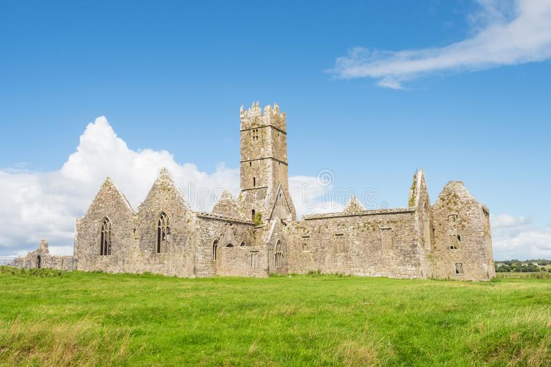 Ross Errilly Friary. Founded in 1351 and situated near Headford in County Galway, Ross Errilly Friary is one of the best-preserved medieval monastic sites in in royalty free stock photo