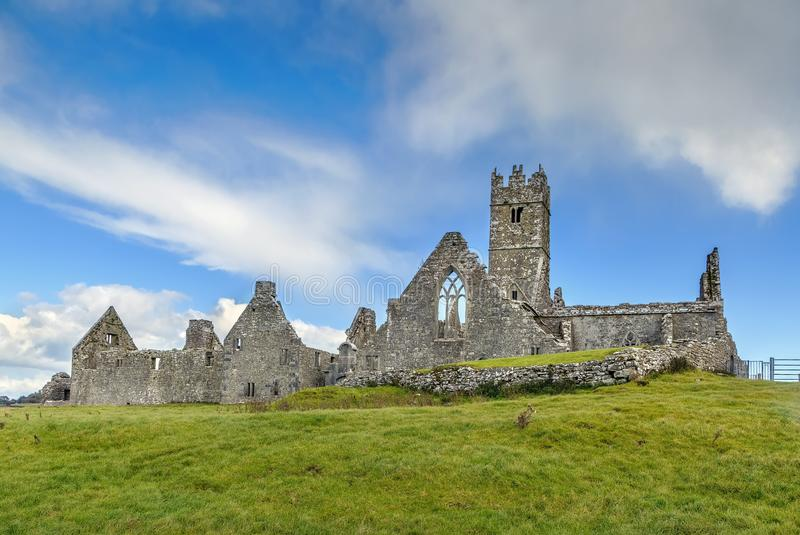 Ross Errilly Friary, Ireland. Ross Errilly Friary is a medieval Franciscan friary located about a mile to the northwest of Headford, County Galway, Ireland royalty free stock images