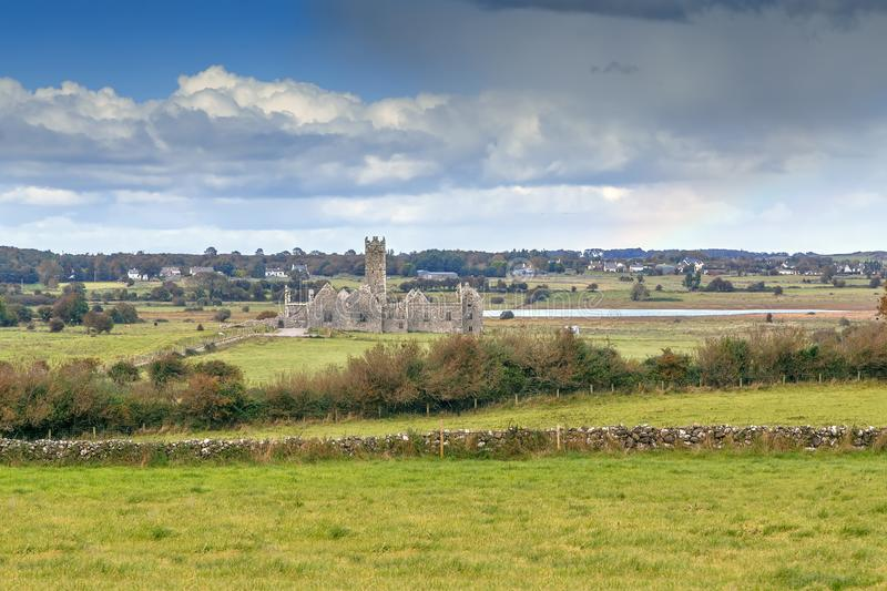 Ross Errilly Friary, Ireland. Ross Errilly Friary is a medieval Franciscan friary located about a mile to the northwest of Headford, County Galway, Ireland royalty free stock photo