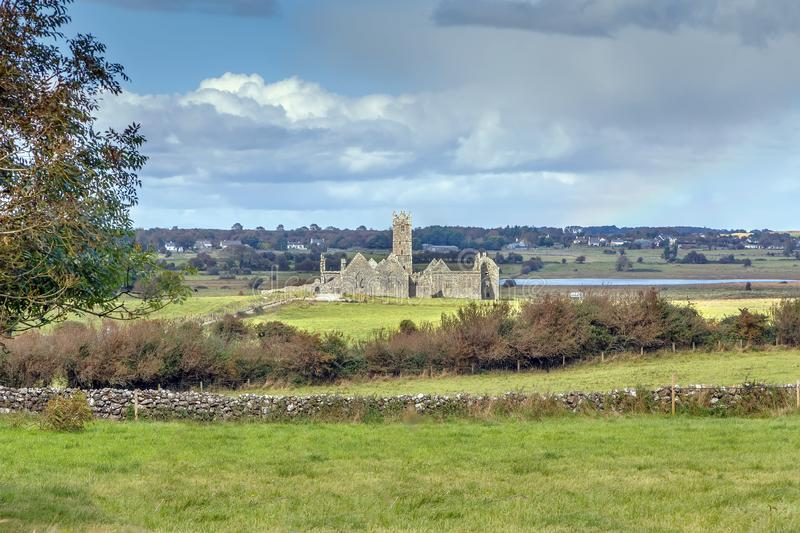 Ross Errilly Friary, Ireland. Ross Errilly Friary is a medieval Franciscan friary located about a mile to the northwest of Headford, County Galway, Ireland stock photo