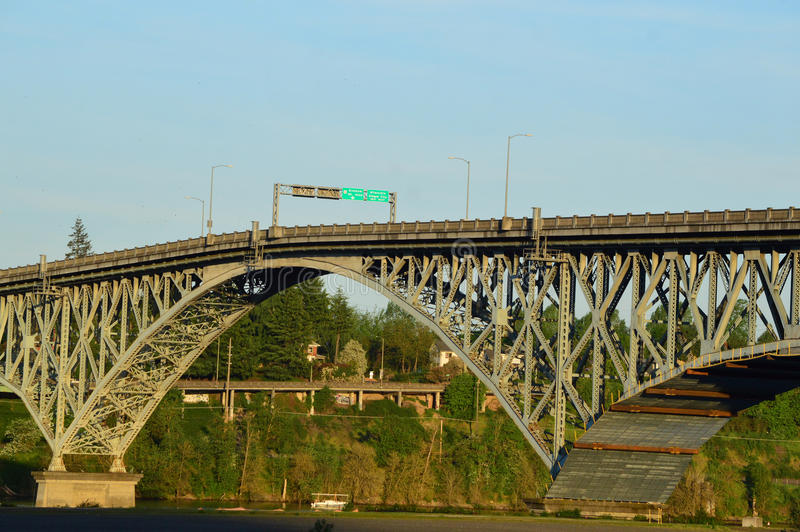 Ross Island Bridge. This photo was taken in Portland. The Ross Island Bridge is a cantilever truss bridge that spans the Willamette River in Portland, Oregon. It royalty free stock photo
