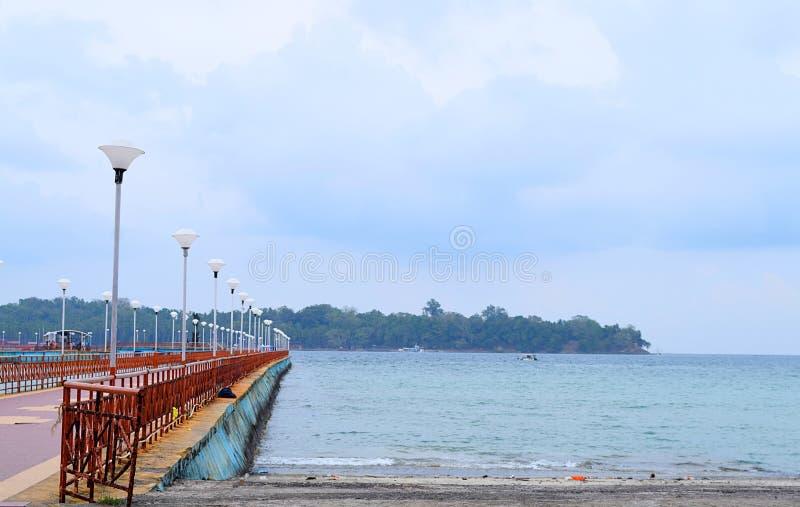 Ross Netaji Subhash Bose Island, Ocean and Cloudy Sky from Port Blair, Andaman Nicobar, India. This is a photograph of Ross island, now known as netaji subhash stock image