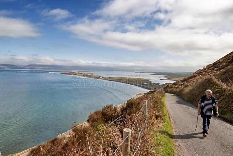 Rossbeigh海滩鸟瞰图  免版税库存照片