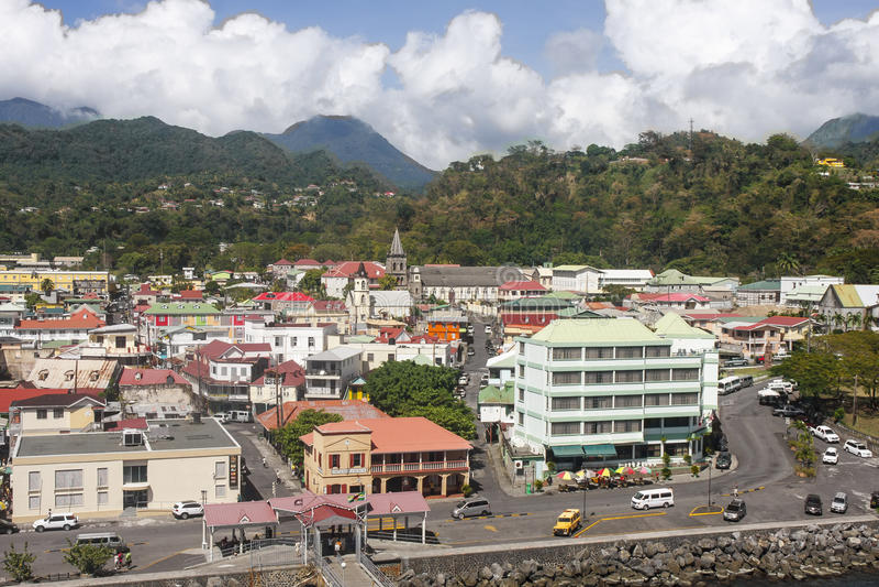Rosseau colorido Dominica imagem de stock royalty free