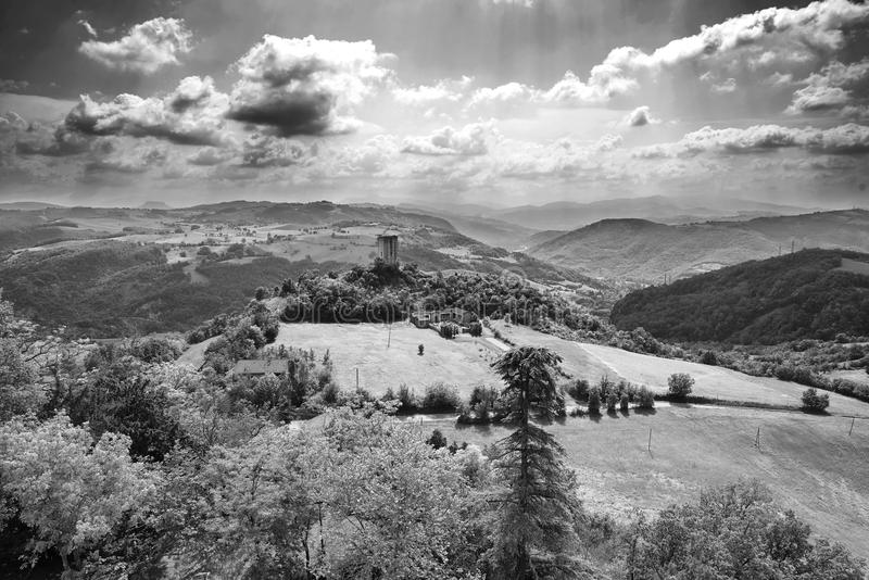 Apennines. Rossena Re, italy, a view of the mountains of Apennines with the Rossenella Tower royalty free stock photo