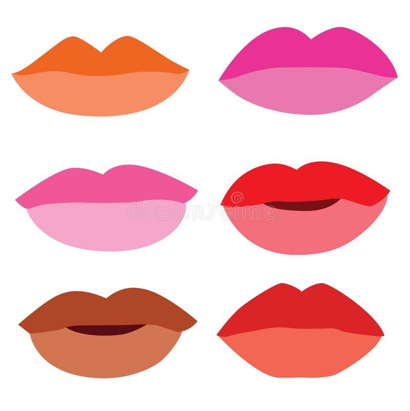 Rossetto di colore della bocca su fondo bianco illustrazione di stock