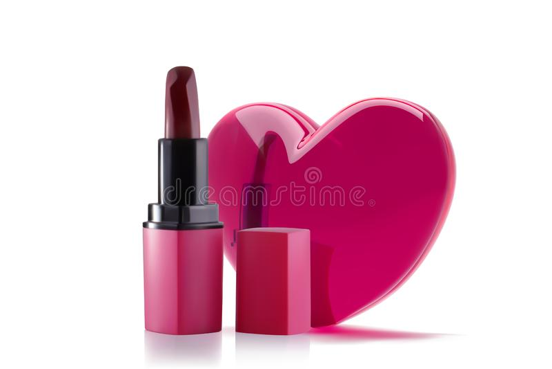 Rossetto rosa con cuore realistico 3d Progettazione dell'insegna di concetto di amore del rossetto Il vettore compone l'oggetto i illustrazione vettoriale