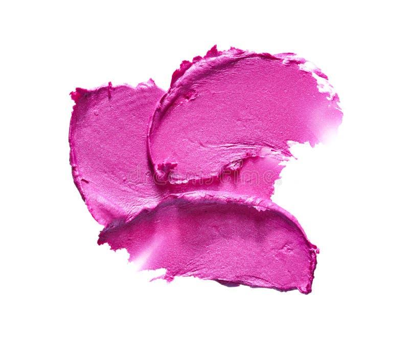 Rossetto rosa o pittura acrilica isolata su bianco immagini stock