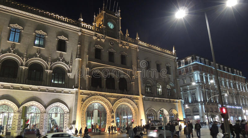 Rossio centrale post, de stad van Lissabon, Europa stock afbeelding