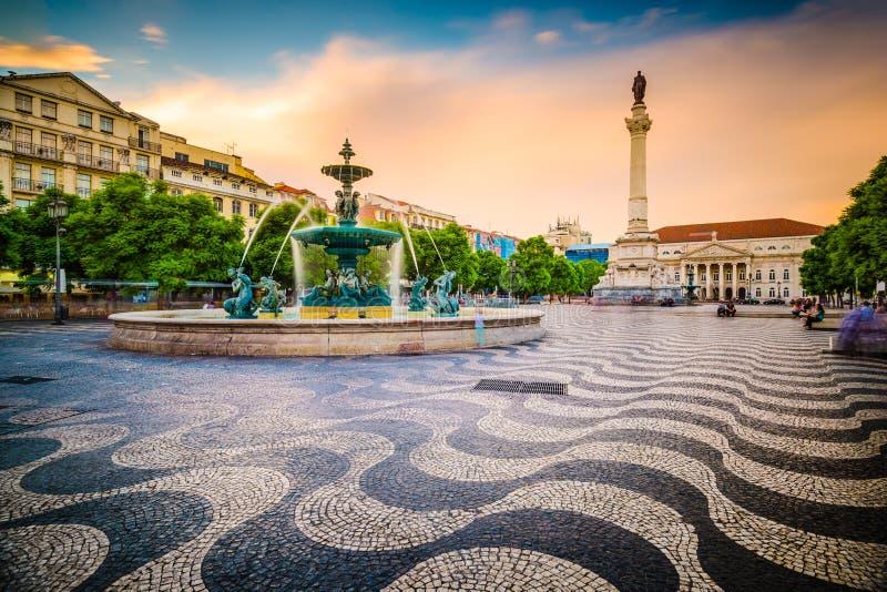 Rossio fyrkant av Lissabon arkivfoton