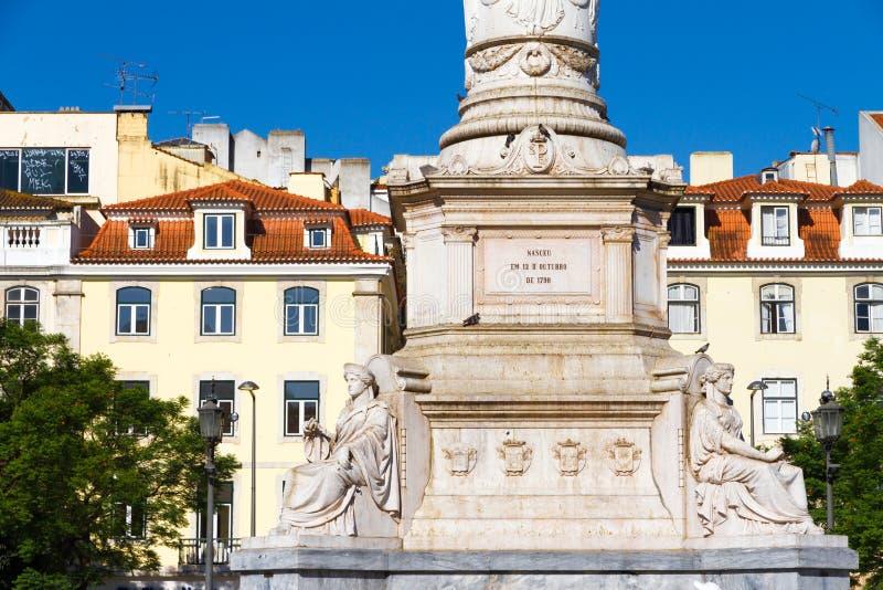 Rossio fyrkant i Lissabon, i Portugal fotografering för bildbyråer