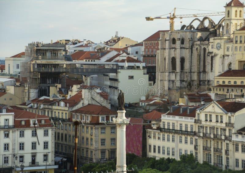 Rossio fyrkant Lissabon arkivbilder