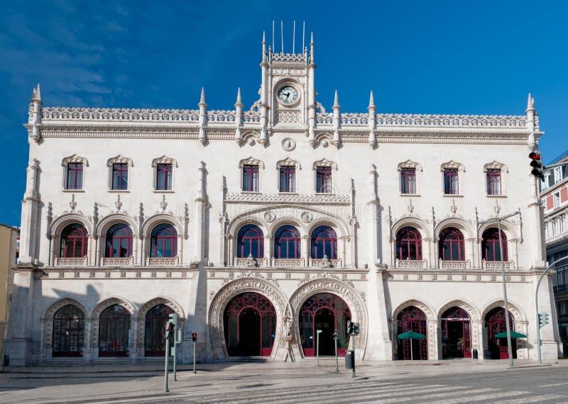 Rossio järnvägsstation i Lissabon royaltyfri fotografi