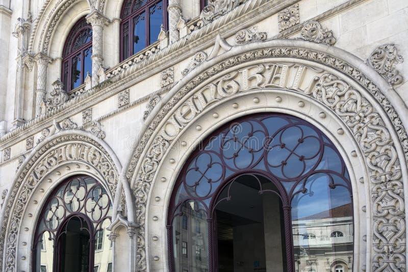 Rossio Railway Station - Lisbon - Portugal. The Neo-Manueline facade of Rossio Railway Station Estaçao de Caminhos de Ferro do Rossio in Rossio square in Lisbon royalty free stock images