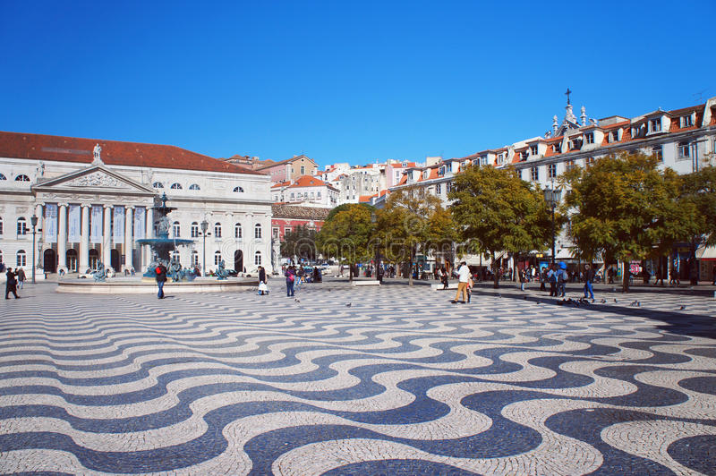 Rossio Square of Lisbon stock photography