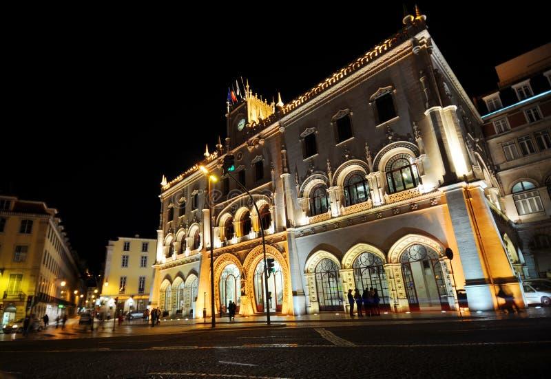 Rossio Station nachts lizenzfreies stockfoto