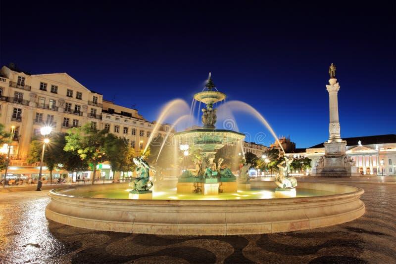 Rossio vierkant Lissabon, Portugal royalty-vrije stock afbeelding