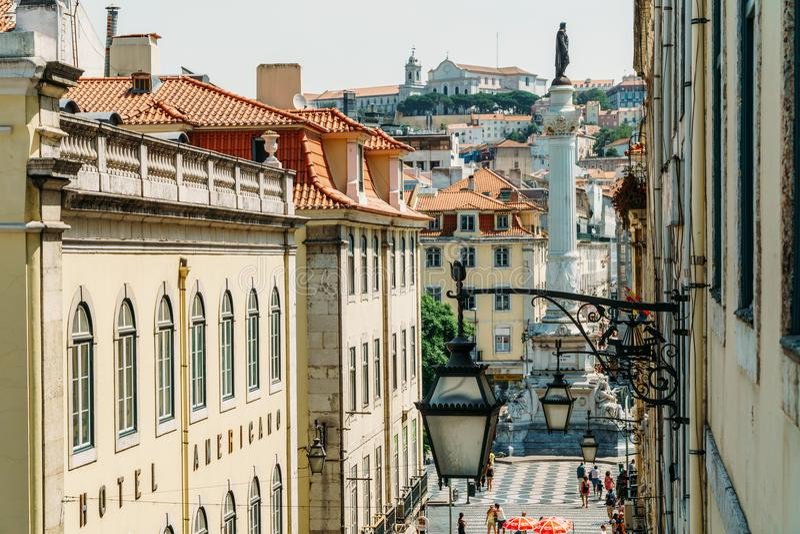 Rossio Vierkante Praca DE Don Pedro IV wordt gevestigd in Pombaline de stad in van Lissabon en is Één van de Belangrijkste Toeris stock afbeelding