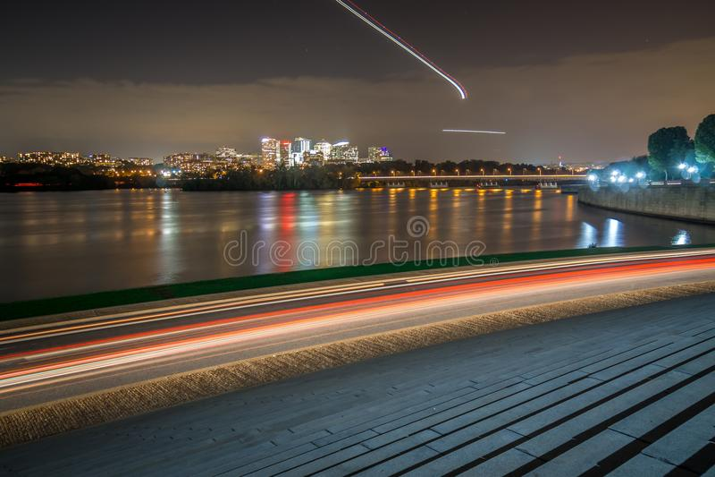 Rosslyn Skyline, Theodore Rosevelt Memorial Bridge and traffic stock photos