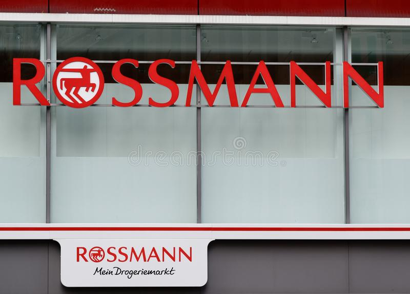 Rossmann advertising on a wall royalty free stock photo