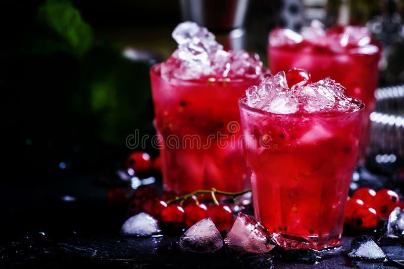 Rosso莓果崩溃,酒精鸡尾酒用红浆果,苦艾酒 库存图片