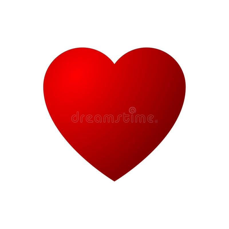 Rosso all'icona rossa del cuore isolata su fondo bianco illustrazione vettoriale