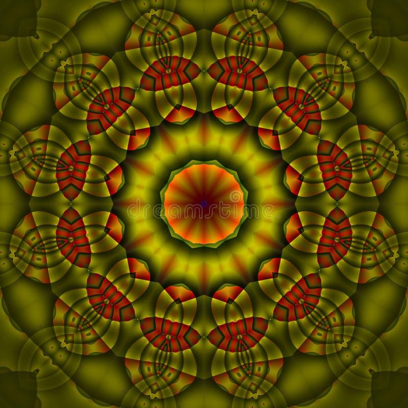 Rosso arancio rotondo regolare di verde verde oliva dell'ornamento illustrazione di stock