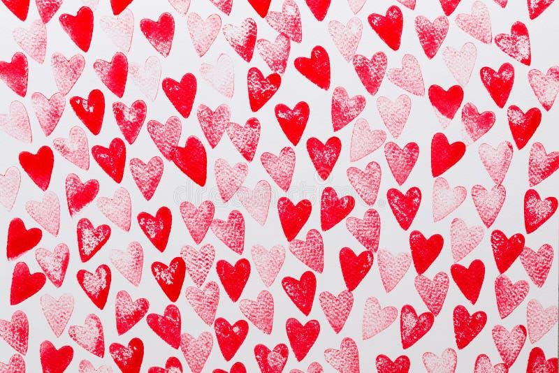 Rosso astratto dell'acquerello, fondo rosa del cuore Amore di concetto, cartolina d'auguri di giorno di S. Valentino fotografia stock libera da diritti