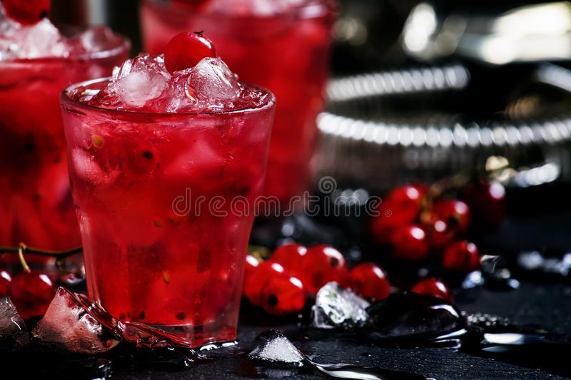 Rosso berry crash, alcoholic cocktail with red currant, vermouth royalty free stock photography