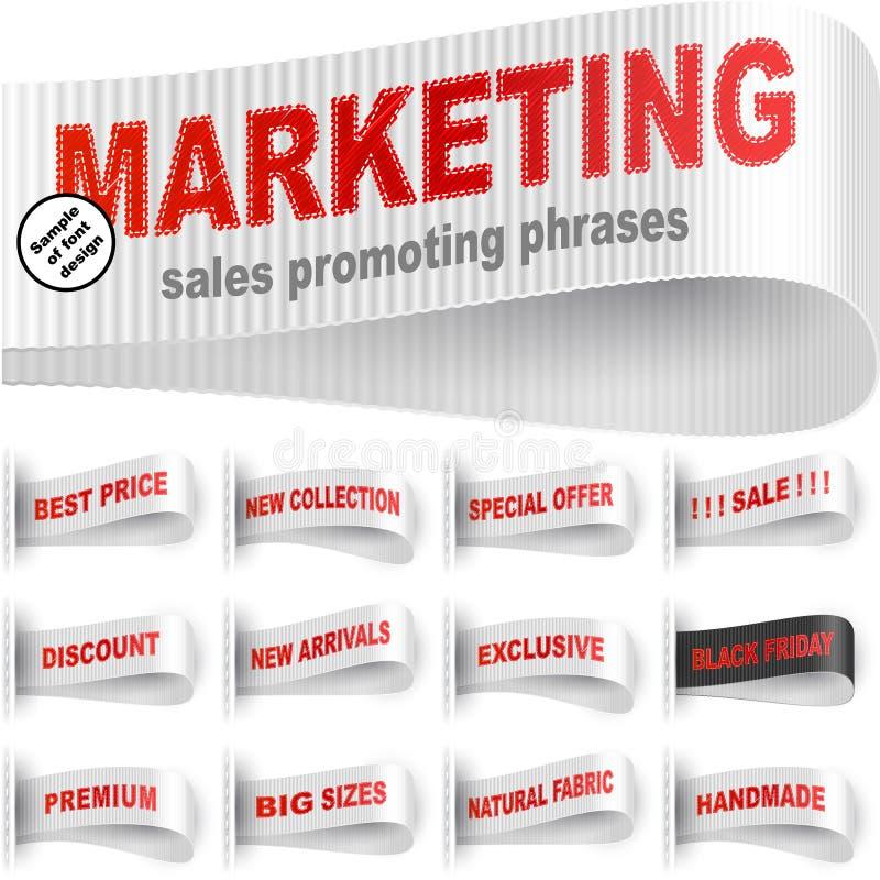 Rosso bianco stabilito di frase cucito autoadesivo dei vestiti dell'etichetta dell'etichetta di vendita illustrazione vettoriale