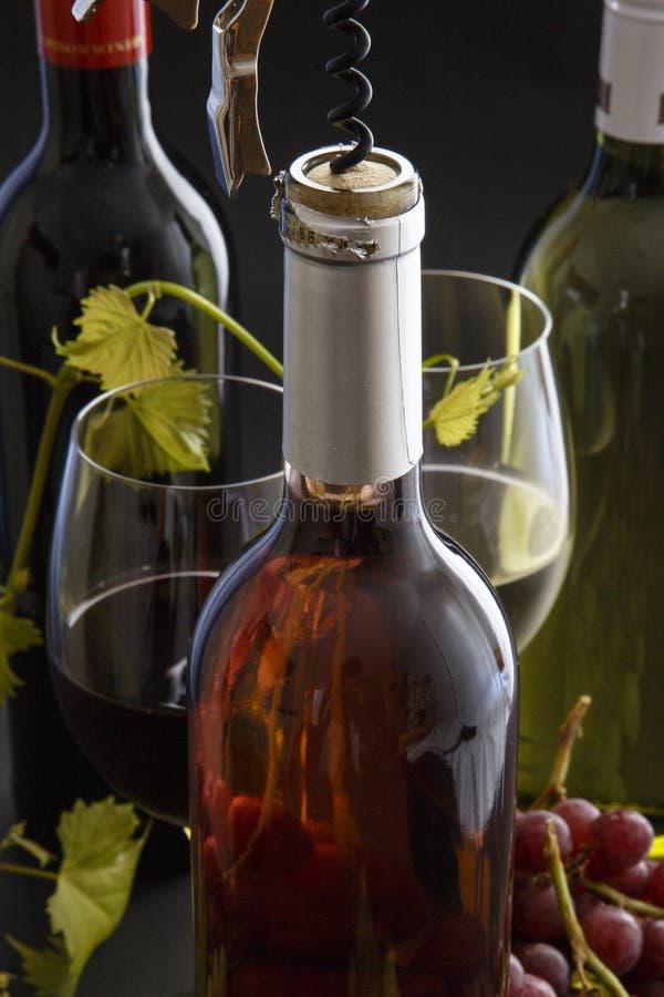 Rosso, bianco & vino rosato con i vetri & l'uva fotografia stock