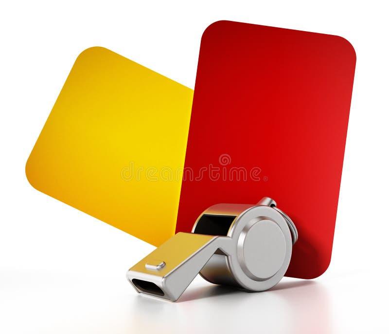 Rosso, cartellini gialli e fischio isolati su fondo bianco illustrazione 3D illustrazione di stock